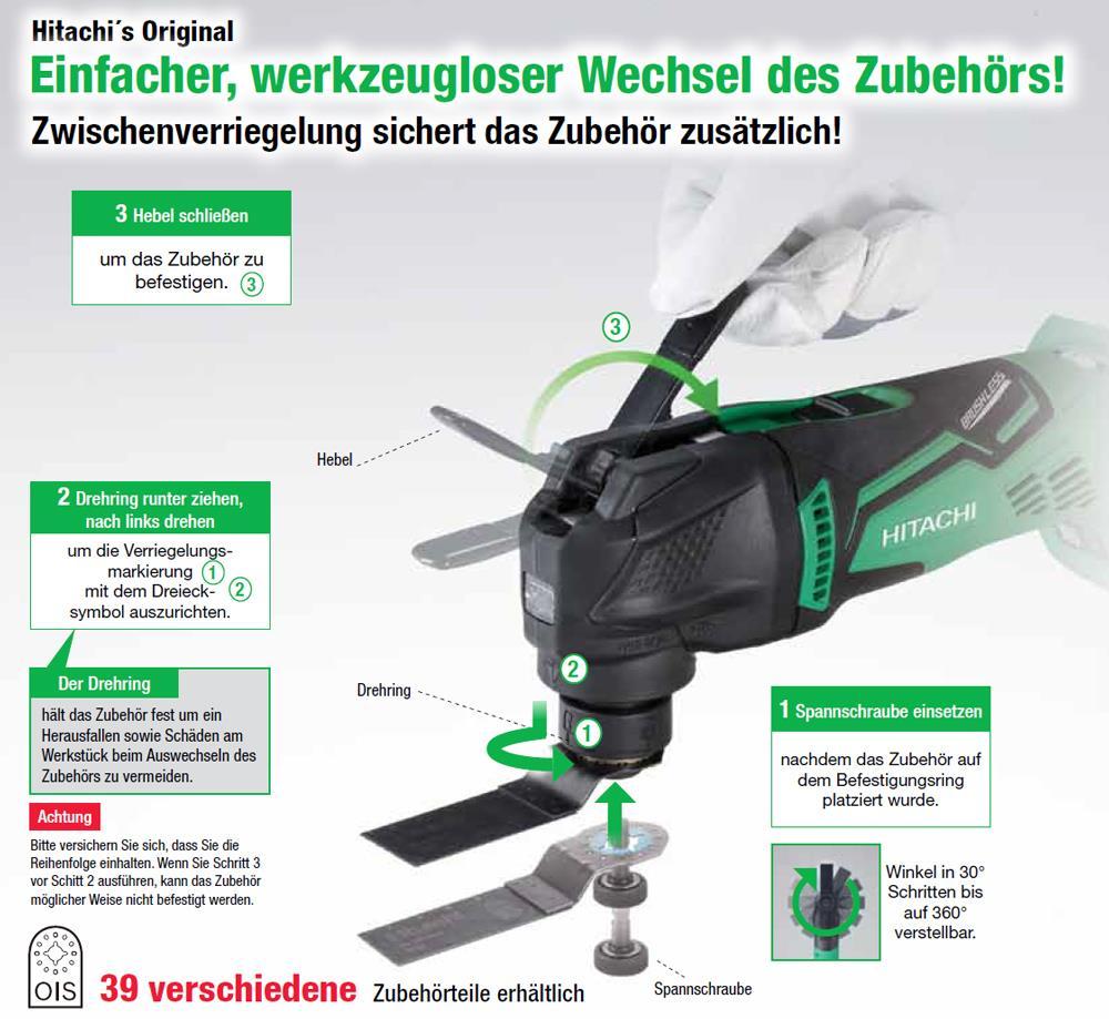 14,4V Hitachi Multitool mit Schnellverschluss