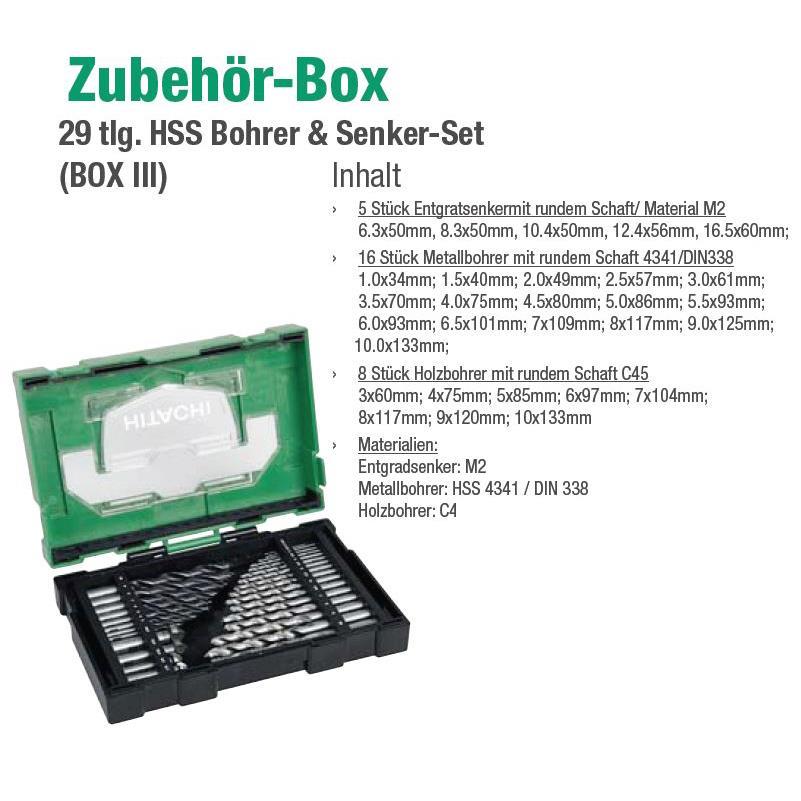 29 Teile HSS Bohrer- und Senker-Set 40030031
