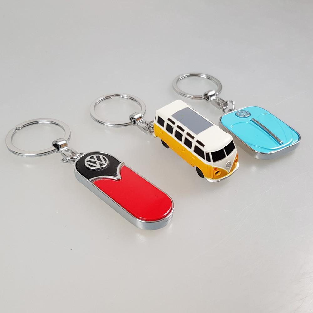 3 Schlüsselanhanger VW in blau, orange, rot