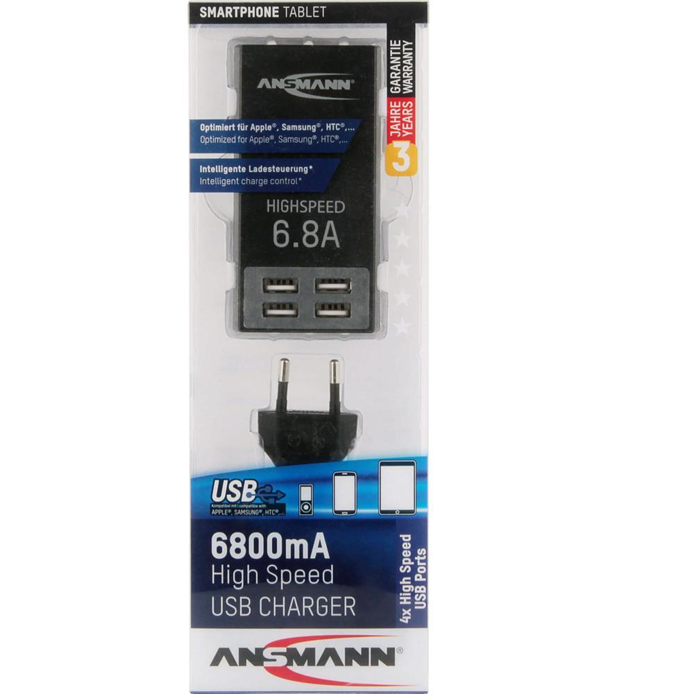 6,8A USB Ladegerät mit 4 Ports für Steckdose