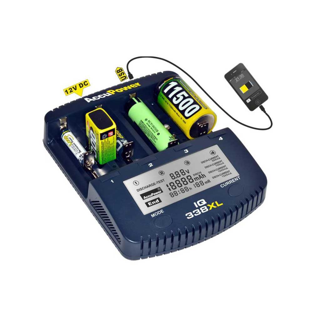 AccuPower IQ338 XL Ladegerät mit USB