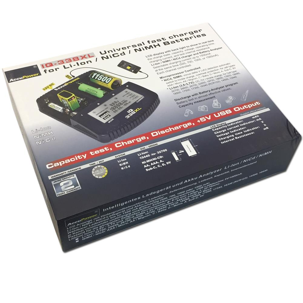 AccuPower IQ338XL Ladegerät Verpackung