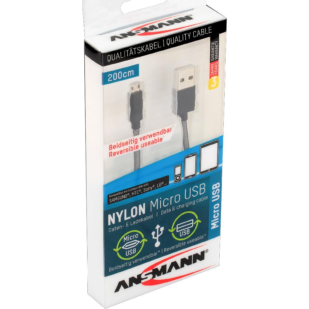 Ansmann 2m USB Kabel mit Micro-USB Stecker