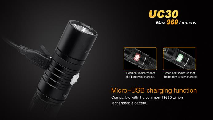 Fenix UC30 inkl. USB-Ladekabel mit Micro-USB