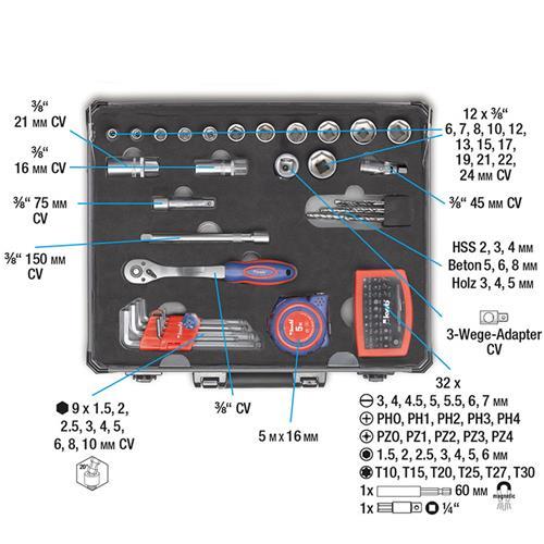 KWB 99-tlg. Werkzeugset (370760) Ausstattung