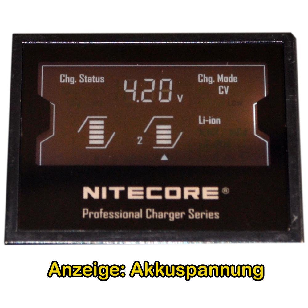 Ladegerät D2EU Nitcore Display Akkuspannung