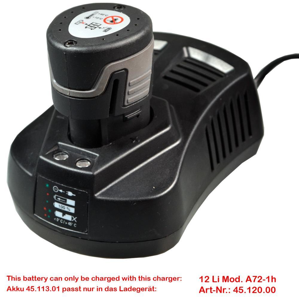 Nur passend für Ladegerät 12 Li Mod. A72-1h