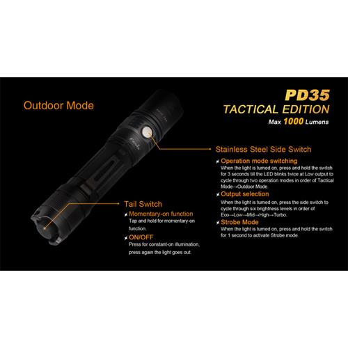 Outdoor-Modus mit 5 Stufen & Strobe