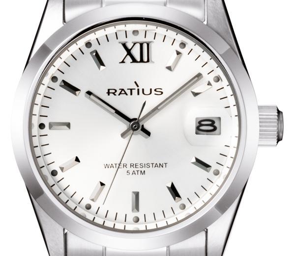 ratius unisex uhr e276 classic 35mm mit stahl armband ziffernblatt wei. Black Bedroom Furniture Sets. Home Design Ideas