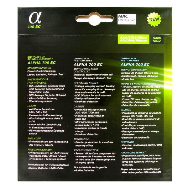 Rückseite Verpackung Ladegerät Alpha700