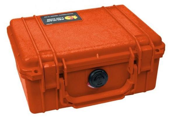 PELI 1120 Koffer, Case orange mit Würfelschaum
