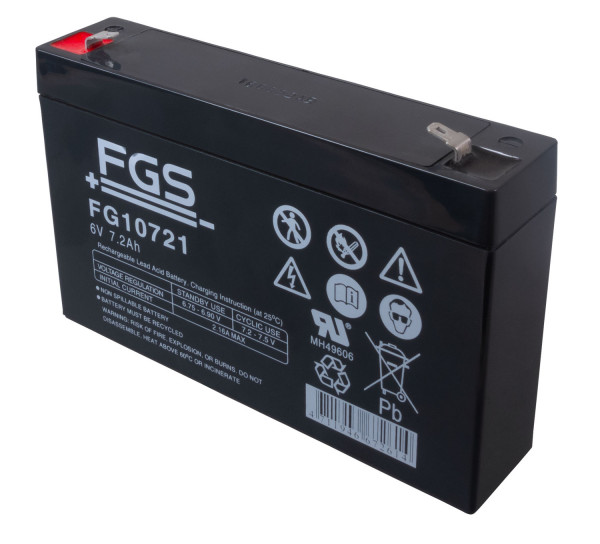 FIAMM Bleiakku FG10721 6,0 Volt 7,2 Ah mit 4,8mm Steckanschlüssen