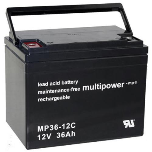 Mulitpower Bleiakku MP36-12C 12 Volt 36Ah mit M6-Schraubanschlüssen Zyklentyp
