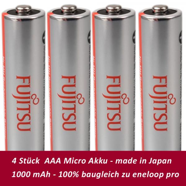 Fujitsu FDK Micro AAA Akkus 4er Blister 1.2V 930mAh NiMH