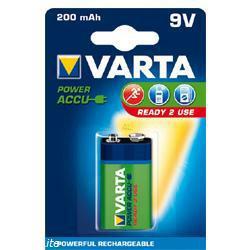 Varta 56722 Power Akku Ready2Use 6AM6 (9Volt Block) 8,4Volt 200mAh im 1er Blister