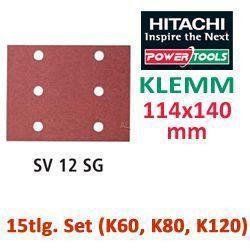 HiKoki Schleifpapier 15tlg. SET für Klemm Schwingschleifer 114x140