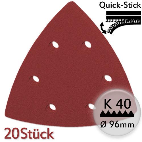K40 Edelkorund-Schleifpapier 20Stk f. Deltaschleifer 96mm, Quick-Stick - Metall u. Holz