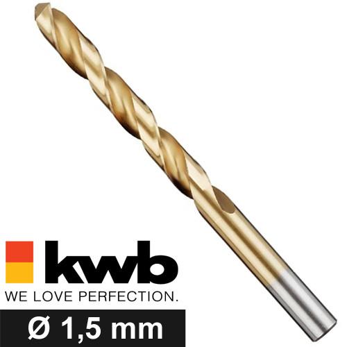 Ø 1,5 mm TITAN HSS Spiralbohrer für Metalle - Industriequalität
