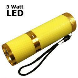 LED Taschenlampe 3 Watt mit Aluminiumgehäuse, gelb