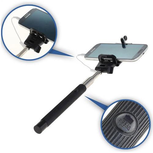 Selfie-Stick mit Monopad ausziehbar mit Auslöseknopf für Smartphones