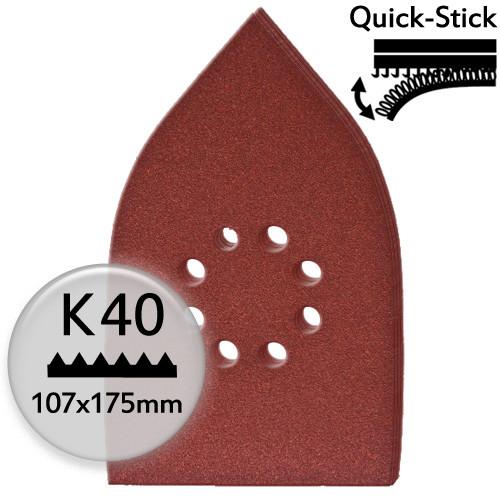 5Stk. K40 Edelkorund-Schleifpapier f. Deltaschleifer 107x175mm, Klett - Holz & Metall