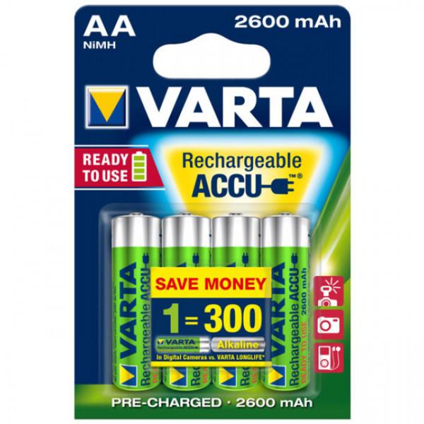 Varta 5716 Power Ready2Use Mignon (AA) Akku 1,2Volt 2600mAh NiMH im 4er Pack