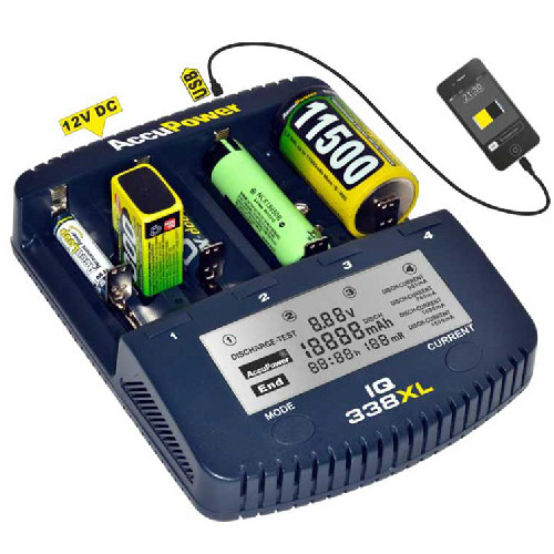 AccuPower Universal IQ338XL Ladegerät LiIon NiCd NiMH Akkus