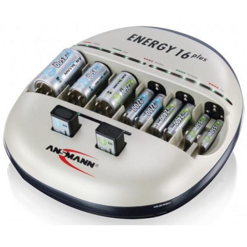 Ansmann Energy 16plus Power-Ladestation für Mignon, Micro, Baby, Mono und 9Volt Blöcke mit Refresh-F
