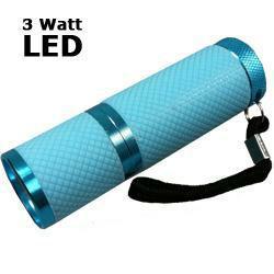 LED Taschenlampe 3 Watt mit Aluminiumgehäuse, hellblau