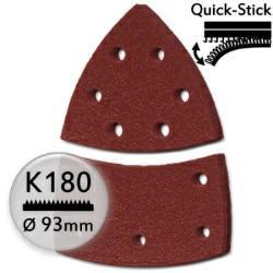 K180 Schleifdreiecke 93 / 100x62 mm f. Deltaschleifer, mit Quick-Stick - Metall u. Holz