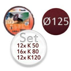 40teiliges Set mit Schleifpapier-Scheiben K50, K80, K120 - für Holz und Metall