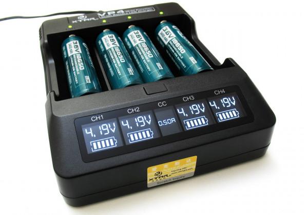 Xtar VP4 Ladegerät für Li-Ion-Akkus inkl. KFZ-Adapter