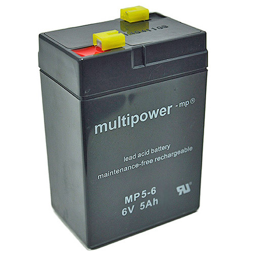 Multipower Bleiakku MP5-6 6V 5Ah Faston 4,8mm