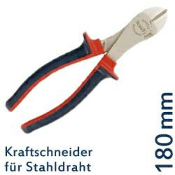 DIN 5238 B Kraft-Seitenschneider f. Stahldraht, 180 mm, CV-Stahl, TÜV/GS geprüft