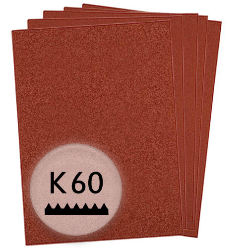 K60 Schleifpapier in 10 Bögen, 230x280mm - für Holz und Metall