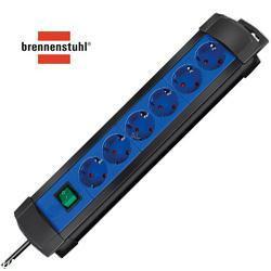 brennenstuhl Steckdosenleiste Premium-Line, 6-fach, schwarz-blau