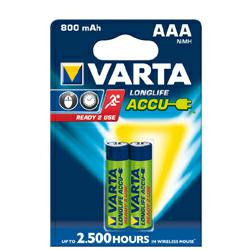Varta 56703 Longlife Akku Ready2Use Micro (AAA) 1,2 Volt 800mAh NiMH im 2er Blister