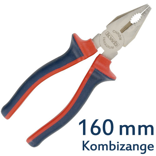 DIN 5244 Qualitäts-Kombizange 160 mm, CV-Stahl, TÜV/GS geprüft