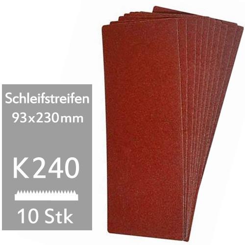10er Pack K240 Schleifstreifen 93x230mm f. Schwingschleifer - für Holz und Metall