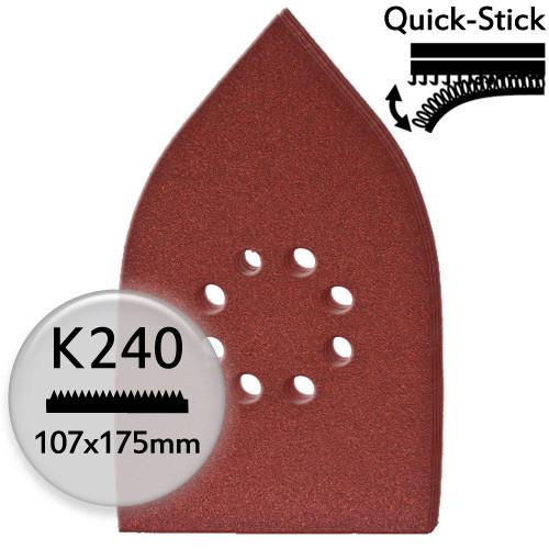 5Stk. K240 Edelkorund-Schleifpapier f. Deltaschleifer 107x175mm, Klett bzw. Quick-Stick - Holz & Met