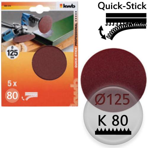 K80 Schleifscheiben Ø 125m, Quick-Stick - für Holz, Metall, Kunststoff