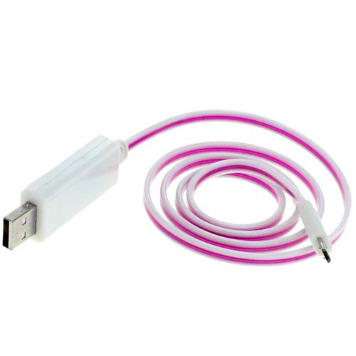 Pink leuchtendes USB auf Micro-USB Kabel 80cm weiss