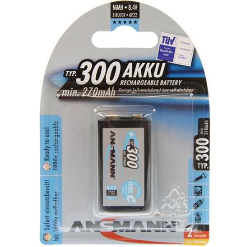 Ansmann maxEplus 9V-Block Akku 300mAh NiMH, 6F22R, 6AM6
