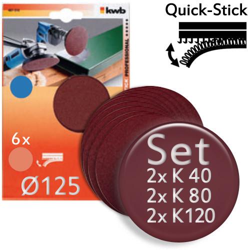 6teiliges Set mit Schleifscheiben Ø 125m, Quick-Stick - für Holz, Metall, Kunststoff