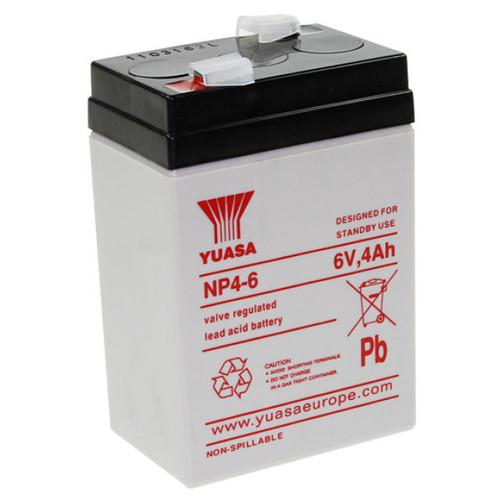 Yuasa Bleigelakku NP4-6 6 Volt 4,0Ah mit 4,8mm Steckanschlüssen