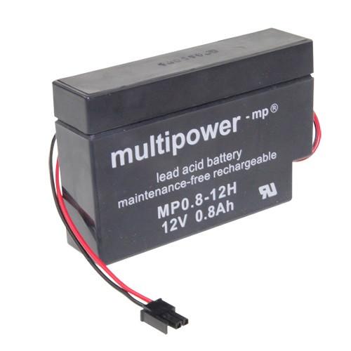 Multipower Bleiakku MP0.8-12H für Heim und Haus 12 Volt 800mAh Kabel mit AMP-Buchse