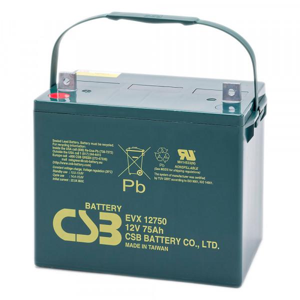 CSB EVX12750 Bleiakku, Zyklenfester-Akku 12 Volt, 75Ah