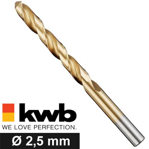 Ø 2,5 mm (M3) TITAN HSS Spiralbohrer für Metalle - Industriequalität