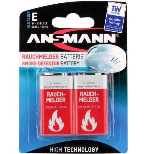 Ansmann 9V Alkaline Rauchmelder-Batterie im 2er Blister