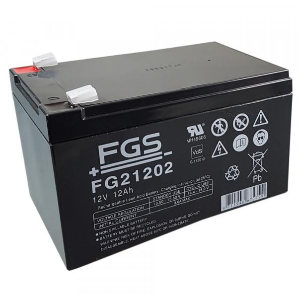 Bleiakku FG21202 12,0 Volt 12 Ah mit 6,3mm Steckanschlüssen von FGS